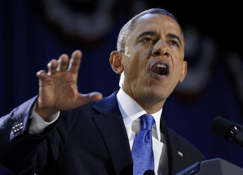 Barack Obama à Chicago, dans la nuit du 6 au 7 novembre 2012.