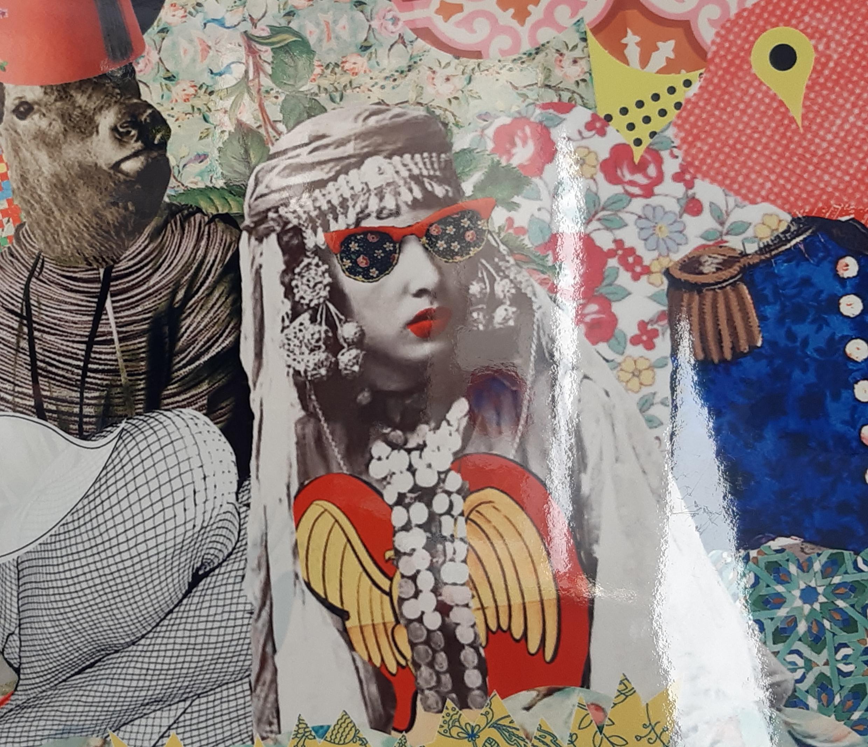 Princesse Zazou: des fleurs, des bijoux traditionnels, des broderies, une féminité revendiquée (détail d'une oeuvre exposée à la galerie Miettes de Baleine).