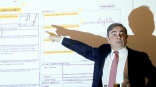 FO antigo PCA da Renault-Nissan, Carlos Ghosn, deu hoje em Beirute uma conferência de imprensa