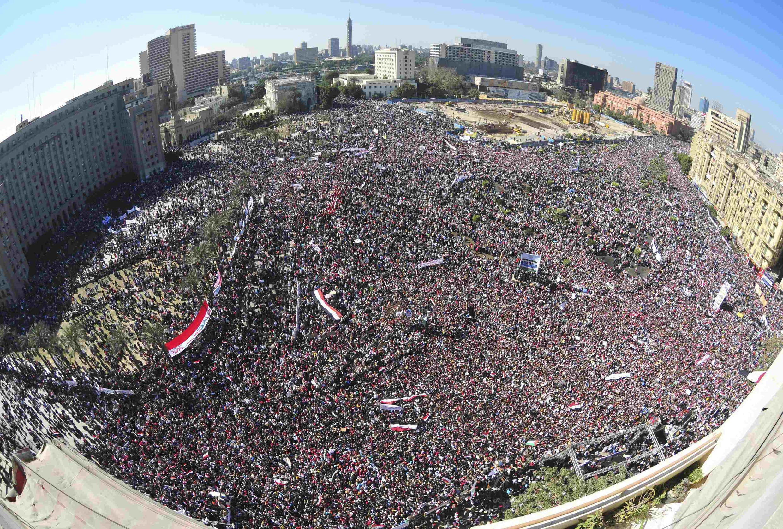 Vista da praça Tahir nesta sexta-feira onde estão reunidos milhares de egípcios para celebrar vitória sobre Mubarak.