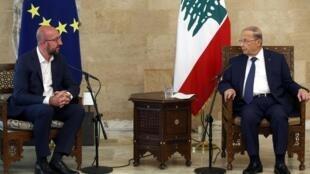 Le président du Conseil européen Charles Michel s'est entretenu avec le président libanais Michel Aoun à Beyrouth, ce samedi 8 août 2020.