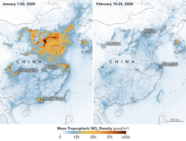 Концентрация диоксида азота в атмосфере Китая с 1 по 20 января (до карантина) и с 10 по 25 февраля, когда карантин уже ввели.