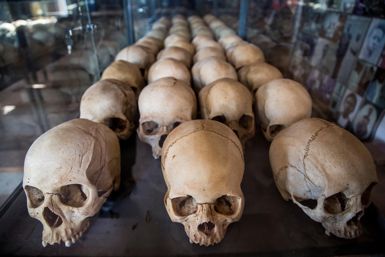 Skulls of Rwandan genocide victims on display at a memorial in Kigali