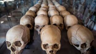 Skulls of Rwandan genocide victims on display at a memorial in Kigali.