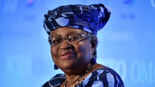 La nigeriana Ngozi Okonjo-Iweala el 15 de julio de 2020 durante una rueda de prensa en Ginebra, Suiza