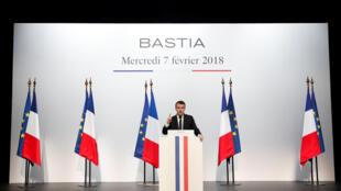 French President Emmanuel Macron speaking in Bastia on Wednesday
