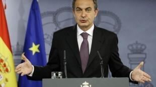 Le Premier ministre espagnol, Jose Luis Rodriguez Zapatero, s'adresse aux médias lors de la conférence à Madrid du 30 décembre 2009.