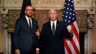 Charles Michel et Mike Pence à Bruxelles le 19 février 2017.