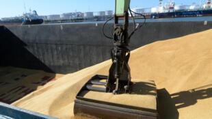 Une barge remplie d'orge est vidée dans le port d'Anvers en Belgique.