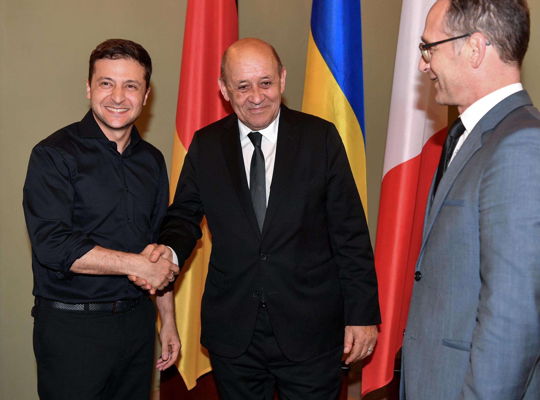 Владимир Зеленский с Жан-Ивом Ле Дрианом и Хайко Маасом в Киеве 30 мая 2019