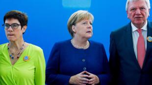 Angela Merkel en la sede de su partido, CDU, el 15 octubre 2018