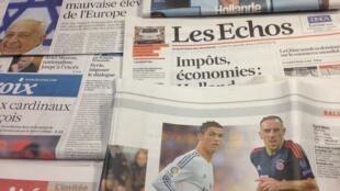 Primeiras páginas diários franceses 13/1/2014