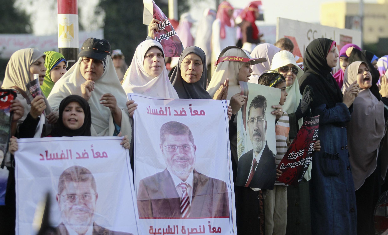 Manifestation de membres féminins des Frères musulmans, le 11 août, non loin du Caire.