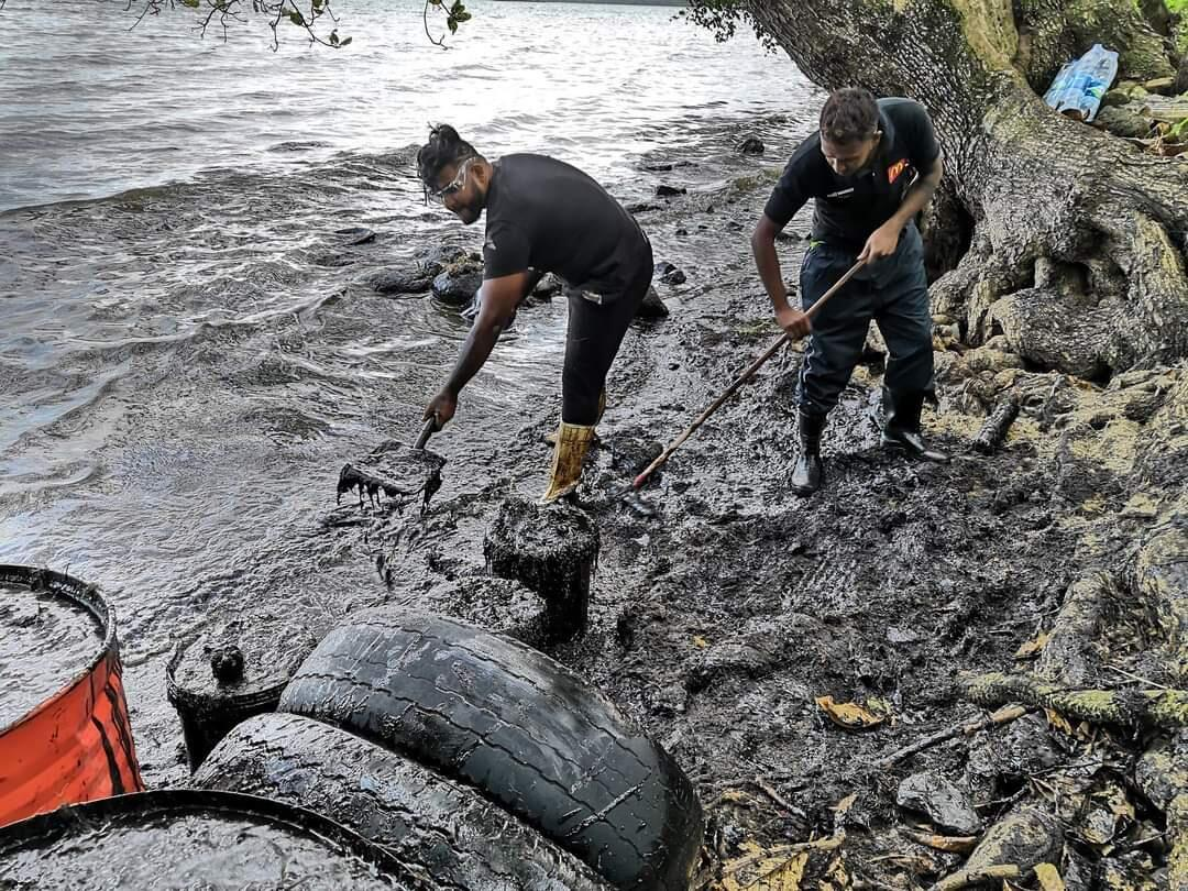 Volunteers without protective equipment cleaning up the coastline at Vieux-Grand-Port. Being in direct contact with the chemicals found in the oil carry many health risks.