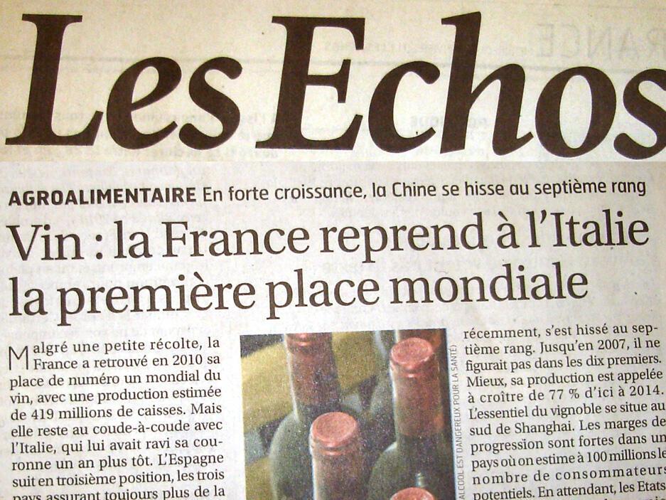 O vinho francês é manchete do jornal francês Les Echos.