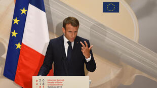 France's President Emmanuel Macron addresses a press conference at the end of the EU Informal Summit of Heads of State or Government at the Mozarteum University in Salzburg, Austria, on September 20, 2018.