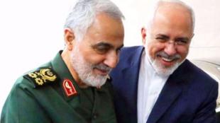 伊朗軍方前指揮官蘇萊曼尼與外交部長紮里夫資料圖片