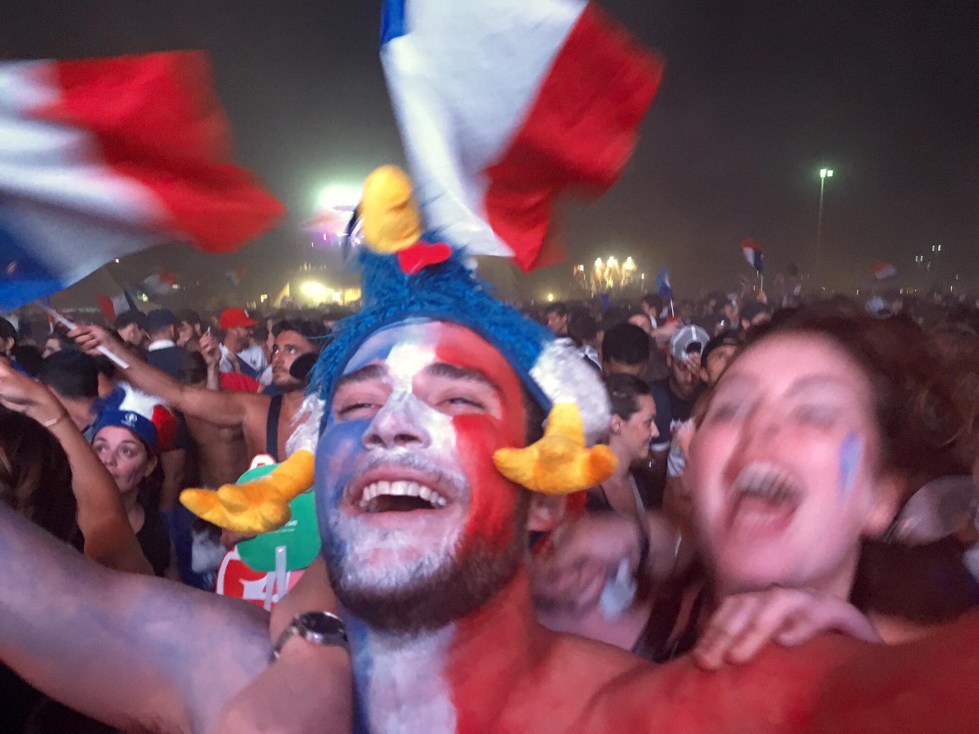 Explosion de joie des supporters de l'équipe de France lors de la rencontre Allemagne-France, le 7 juillet 2016.