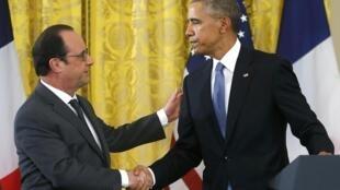 Shugaban Faransa Francois Hollande da takwaransa na Amurka Barack Obama.