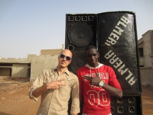 Christopher Kirkley (L) in Mali