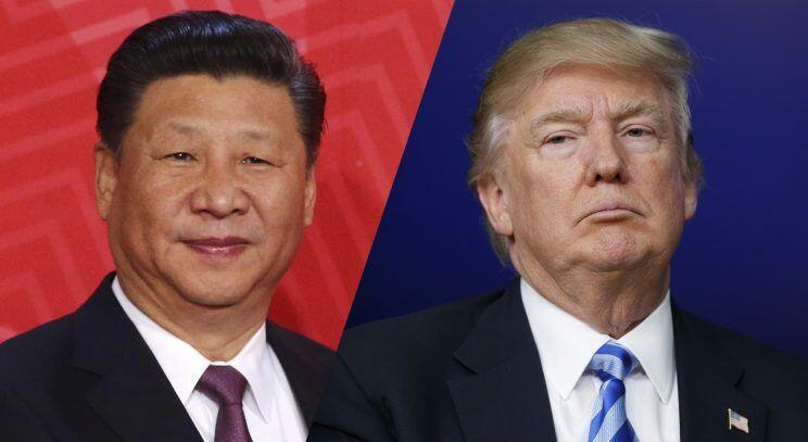 中美两国首脑习近平与特朗普资料图片