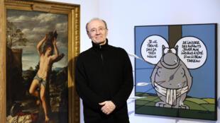 Le dessinateur Philippe Geluck au musée en herbe à Paris.