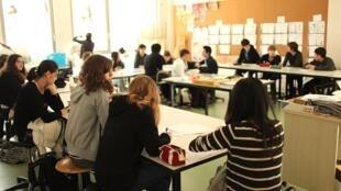 Sala de aula de uma escola francesa, março 2012