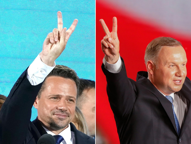 Andrzej Duda (Derecja) Rafal Trzaskowski (I) se miden el domingo en la segunda vuelta de las elecciones presidenciales.