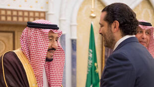 Saudi king Salman ben Abdelaziz al-Saoud meets with outgoing Lebanese Prime Minister Saad Hariri in Riyad, 6 November 2017