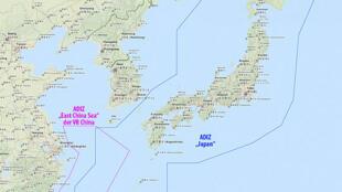 Vùng phòng không Trung Quốc (Đỏ) và Nhật Bản tại biển Hoa Đông (bản đồ: wikipedia.org)