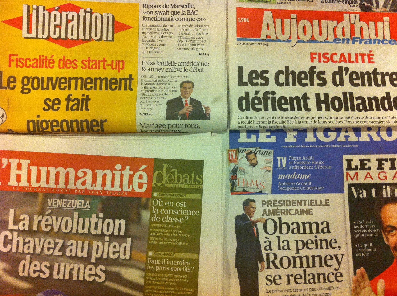 Capas dos diários franceses 05-10-2012