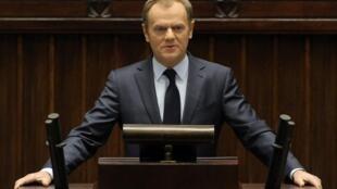 Премьер Польши Дональд Туск на сессии сейма, посвященной Украине. Варшава 19/02/2014