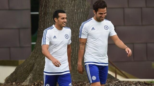 New Chelsea signing Pedro with team mate Fabregas