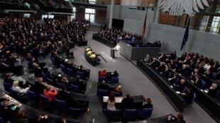 Berlin, Allemagne: le pape Benoît XVI devant les députés allemands (Bundestag), le 22 Septembre 2011 au début de sa première visite officielle dans son Allemagne natale.