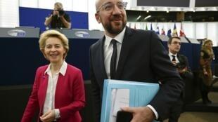 Chủ tịch Ủy Ban Châu Âu Ursula von der Leyen và chủ tịch Hội Đồng Châu Âu Charles Michel tại Nghị Viện Châu Âu, Strasbourg, Pháp, ngày 18/12/2019.