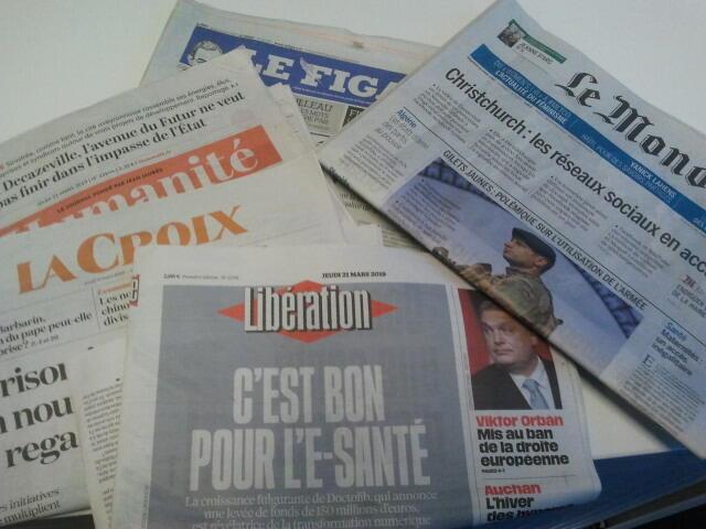 Primeiras páginas dos jornais franceses de 21 de março de 2019