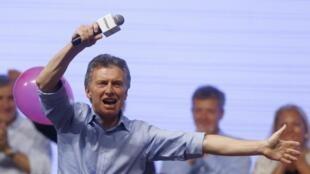 Mauricio Macri comemora vitória nas eleições presidencias na Argentina. 22 de novembro 2015.
