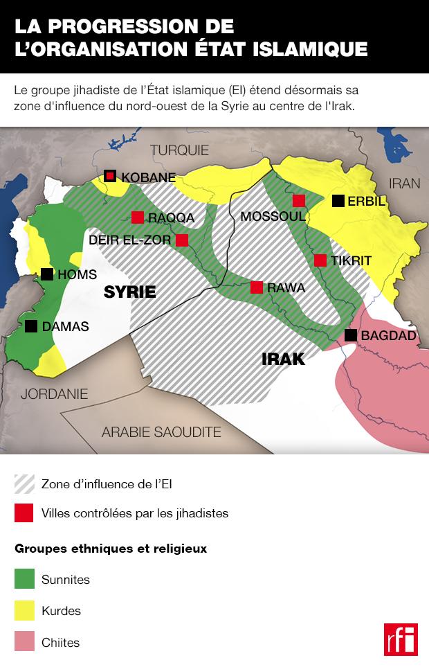 La progression de l'organisation Etat islamique. Légende: En hachuré: zone d'influence EI - En rouge: villes contrôlées par les jihadistes. Les groupes religieux: - En vert : les sunnistes ; en jaune: les kurdes ; en rose: les chiites.