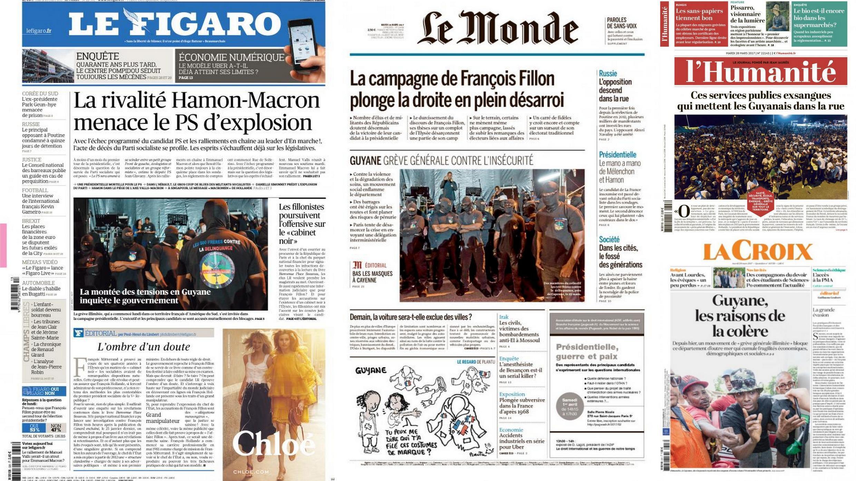 Greve geral na Guiana Francesa, departamento ultramarino na fronteira com o Amapá, é o principal assunto da imprensa francesa nesta terça-feira (28).