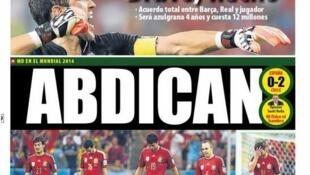 """""""Abdican"""", titula El Mundo Deportivo."""