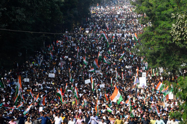 Manifestation de masse contre l'amendement de la loi sur la citoyenneté à Calcutta le 16 décembre 2019.