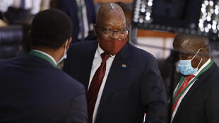 Former South African President Jacob Zuma (C) testified only once in the corruption hearings between staging a walkout in 2019
