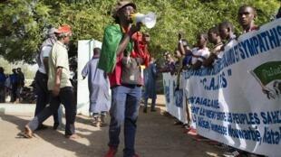 Lors d'une manifestation organisée par la communauté peule à Bamako, le 15 mars 2018.