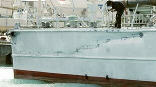 與中國漁船相撞後受損的日本巡邏艇(2010年9月8日)