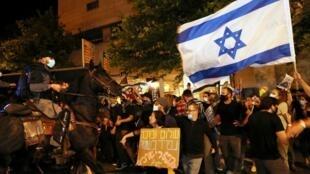 Manifestation contre le Premier ministre israélien à Jérusalem le 22 août 2020.