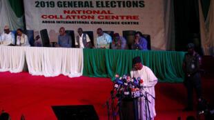Mahmood Yakubu, head of INEC, explains the polling delay, Abuja, February 16, 2019