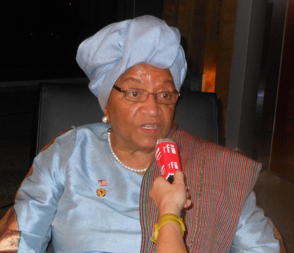 Shugaban kasar Liberia Uwargida Ellen Johnson Sirlif a tattaunawa da Gidan Radiyon RFI a birnin Addis Ababa