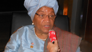 A file picture of Liberian President Ellen Johnson-Sirleaf talking to RFI in Addis Ababa, Ethiopia.