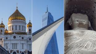 De gauche à droite: la cathédrale du Christ Saint-Sauveur, les buddhas de Bamiyans et le O-WTC.