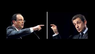 François Hollande (L) and Nicolas Sarkozy (R)